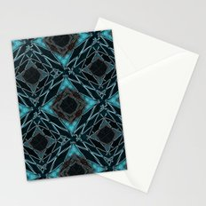 Abstract geometric pattern in blue, black, brown colors. Stationery Cards