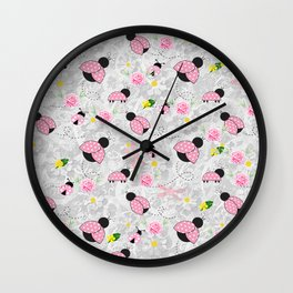 Pretty in Pink Roses Ladybugs Dragonfly Wall Clock