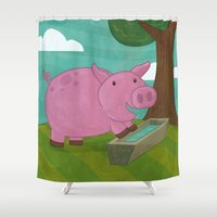 guinea pig Shower Curtains featuring Pig by Claire Lordon
