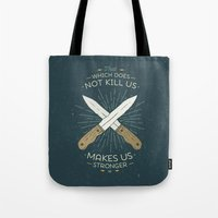 nietzsche Tote Bags featuring That which does not kill us makes us stronger by Beardy Graphics