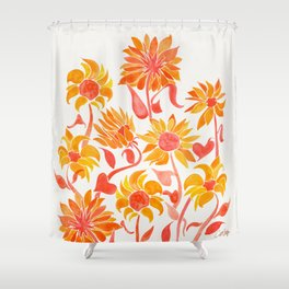 Sunflower Watercolor – Fiery Palette Shower Curtain