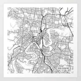 Brisbane Map, Australia - Black and White Art Print