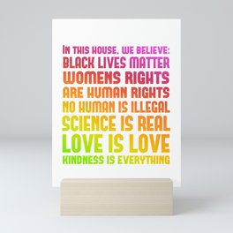 Rainbow Pride Print - In This House We Believe Mini Art Print