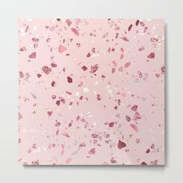 Pink Quartz Glitter Terrazzo Metal Print