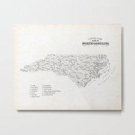 North Carolina Surf Map Metal Print
