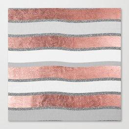 Gray faux silver rose gold geometrical wave stripes Canvas Print