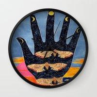 moth Wall Clocks featuring Moth by Dawn Patel Art