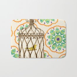 Bird in cage on Pattern by Sandy Thomson Bath Mat