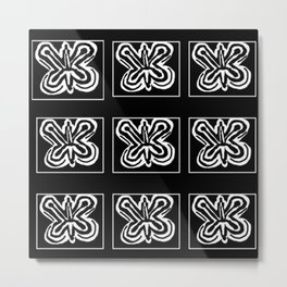 A Black and White Butterfly Patterned Metal Print