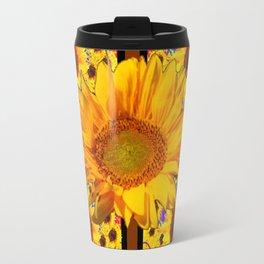 COFFEE BROWN YELLOW SUNFLOWERS DESIGN Travel Mug