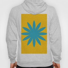 blue flower on yellow background Hoody