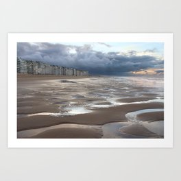 Belgian Coastal Landscape, Winter Art Print