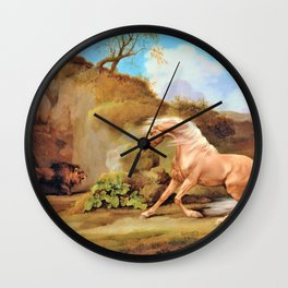 Horse Frightened By A Lion - George Stubbs Wall Clock