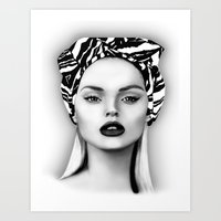 Vintage scarf Girl Black and White Art Print