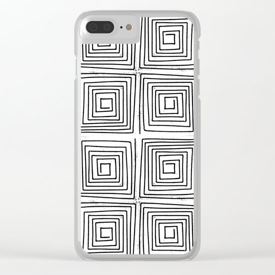Minimal linocut printmaking geometric square maze pattern scandinavian minimalist Clear iPhone Case