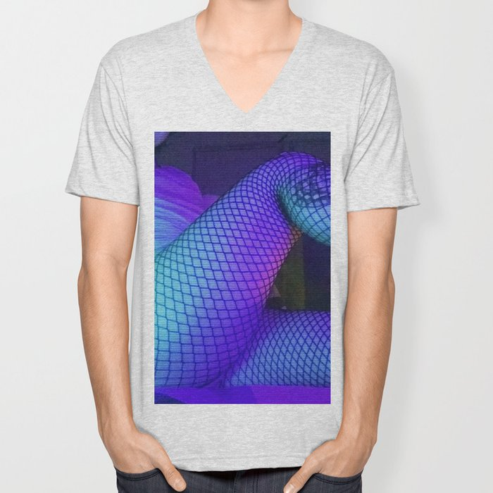 Fishnets in Sleepy Blue Unisex V-Neck