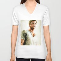 ryan gosling V-neck T-shirts featuring Ryan Gosling - Drive by Hilary Rodzik