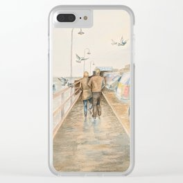 Boardwalk after drizzle Clear iPhone Case