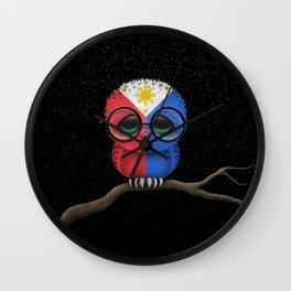 Baby Owl with Glasses and Filipino Flag Wall Clock