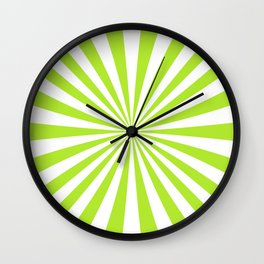Light Lime Rays Wall Clock