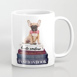French bull dog with fashion books watercolor Coffee Mug