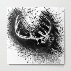 Deer Skull Inksplash Metal Print
