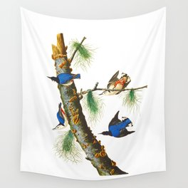 White-breasted Black-capped Nuthatch Bird Wall Tapestry