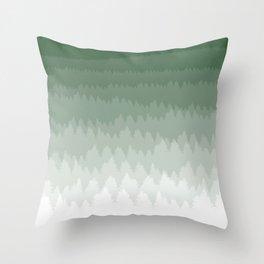 Green Ombré Forest Throw Pillow