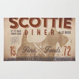 Scottie Diner vintage style graphic dog kitchen artwork by Stephen Fowler Rug