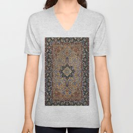 Central Persia Isfahan Old Century Authentic Colorful Golden Yellow Blue Vintage Patterns Unisex V-Neck