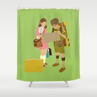 moonrise kingdom Shower Curtains featuring moonrise kingdom by Live It Up