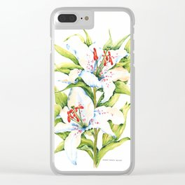 White Stargazer Lily Clear iPhone Case