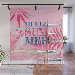 Hello Summer Typography Tropical in Pink Wall Mural