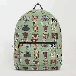 Wild Animal Portraits Green Texture Backpack