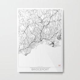 Bridgeport Map White Metal Print