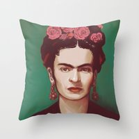 frida Throw Pillows featuring Frida by ravynka