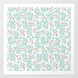 Modern teal pastel coral botanical floral Art Print