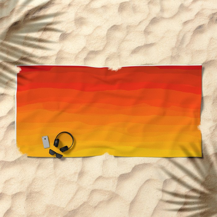Red to Yellow Sunset Beach Towel