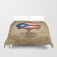 puerto rico Duvet Covers featuring Vintage Tree of Life with Flag of Puerto Rico by Jeff Bartels