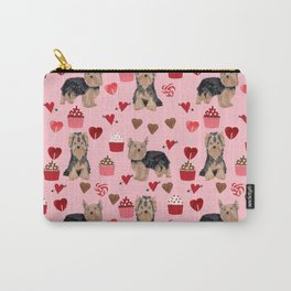 Yorkie valentines day yorkshire terrier hearts cupcakes dog breeds dog gifts pet portraits Carry-All Pouch