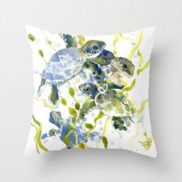 Turtle Baby Sea Turtles, underwater scene olive green, green indigo blue children Throw Pillow