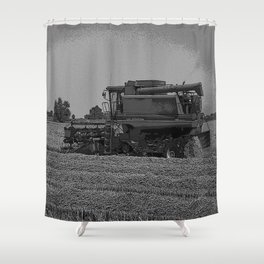 Black & White Harvesting Equipment Pencil Drawing Photo Shower Curtain