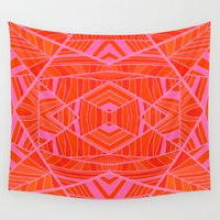 orange pattern Wall Tapestries featuring Mostly Orange Geo Pattern by k_c_s