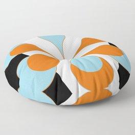 Mid-Century Modern Art 1.4 Aqua Orange Flower Floor Pillow