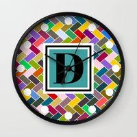 monogram Wall Clocks featuring D Monogram by mailboxdisco