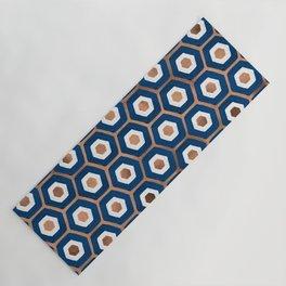 Hexagon Honeycomb Pattern – Denim & Rose Gold Palette Yoga Mat