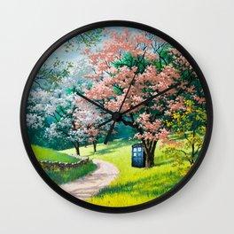 Tardis Art At The Tree Blossom Wall Clock