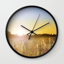 Sunset over Cornfield Wall Clock