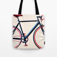 tour de france Tote Bags featuring Tour de France, Giro d'Italia, Bicycle by Caroline Mint