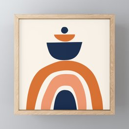 Abstract Shapes 10 in Burnt Orange and Navy Blue Framed Mini Art Print